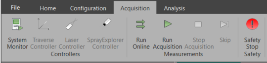 BSA software Acquisition menu